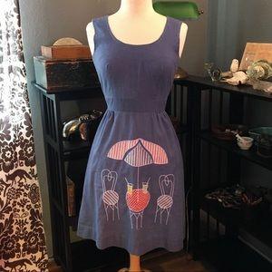 Vintage 70's Chambray Wrap Dress, patio appliqué